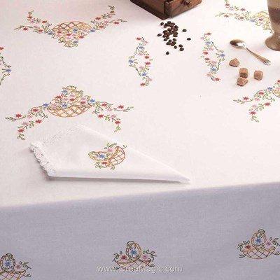 Serviette de table en broderie traditionnelle paniers fleuris - Bordée dentelle - Luc Création