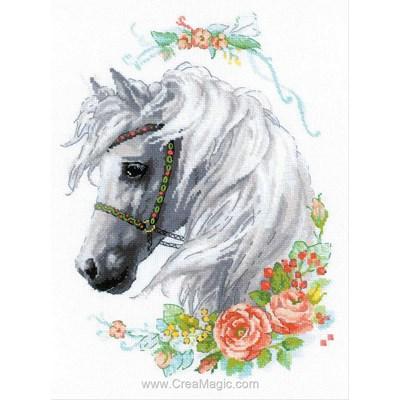 Point de croix RIOLIS cheval à la crinière blanche et roses