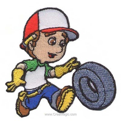 Ecusson thermocollant handy manny change un pneu de MLWD