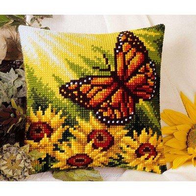 Kit coussin point de croix papillon et tournesols de Vervaco