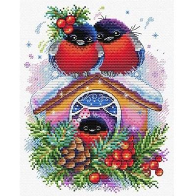 Kit tableau point de croix maison du bonheur en hiver de MP Studia