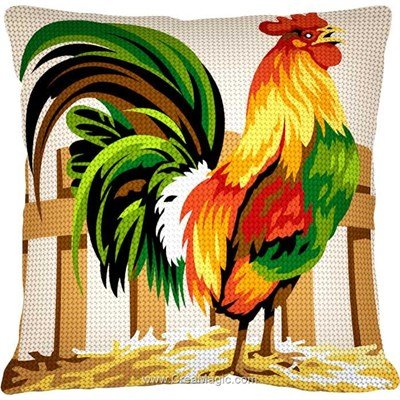 Kit coussin Margot au demi point coq coloré