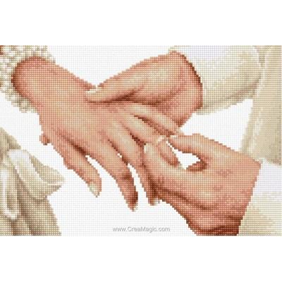 Tableau broderie point de croix l'échange d'alliances - Luca-S