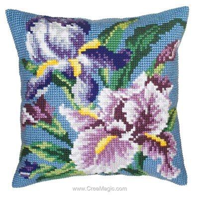 Coussin iris mauve de Collection d'art au point de croix