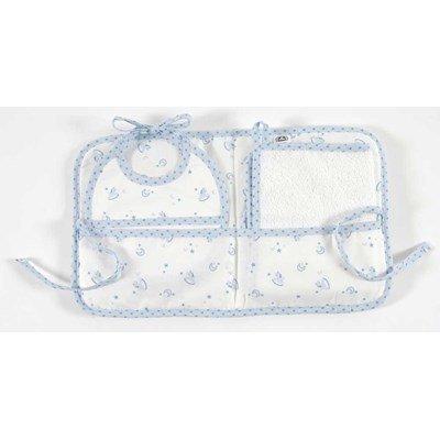 Dmc pochette cadeau : bavoir naissance + serviette inclus baby star -bleu à broder
