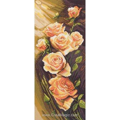 Broderie imprimée roses orange sur aida Collection d'art