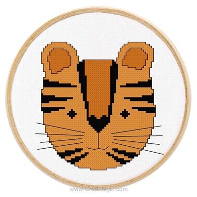 Kit à broder de Princesse au point de croix tableautin petit tigre