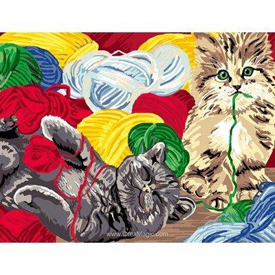 Luc Création canevas les pelotes de laine et les chats