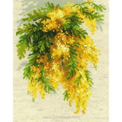 Mimosa suspendu kit point de croix de RIOLIS à broder