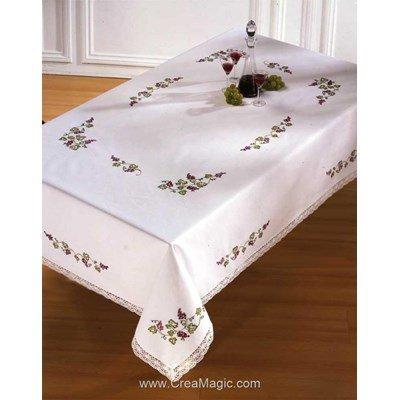 Serviette de table imprimée en broderie traditionnelle nostalgie fleurie - Montée dentelle - BrodArt