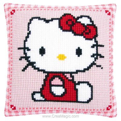 Coussin Vervaco au point de croix hello kitty assise