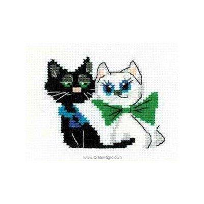 Mini kit au point de croix paire de chats joyeux de RIOLIS
