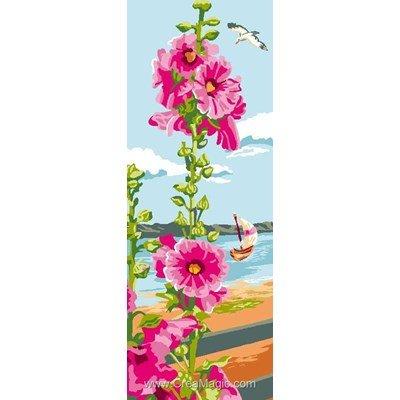 Canevas rose trémières de mer - Luc Création