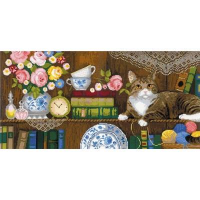 Le point de croix <<<le repos du chat sur l'étagère de RIOLIS