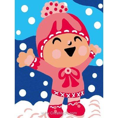 Jeux dans la neige kit canevas a broder pour enfants - Luc Création