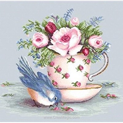 Kit à broder au point de croix l'oiseau bleu et la tasse de thé - Luca-S