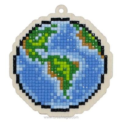 Kit broderie diamant planète terre - Wizardi