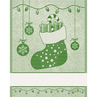 Torchon cadeaux noel - vert à broder de DMC
