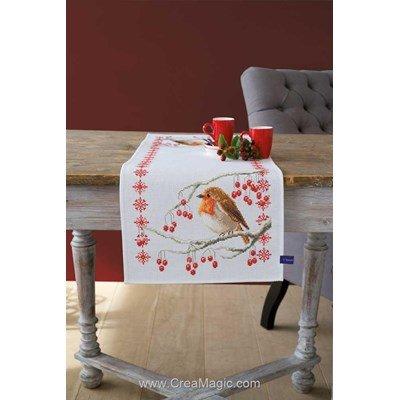 Kit chemin de table Vervaco rouge-gorge et fleurs à broder au point de croix compté