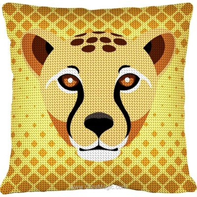 Kit coussin au demi point Margot guépard africa
