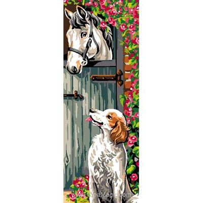 Luc Création canevas chien et cheval au box