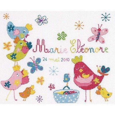 Kit broderie bébé naissance DMC poulettes