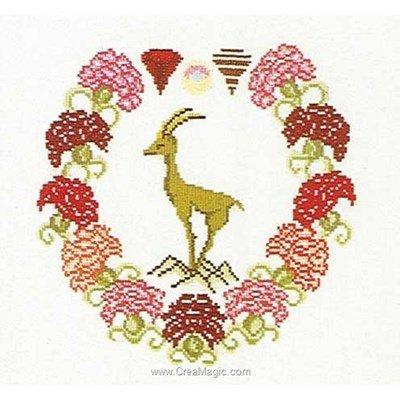Capricornus sur lin modèle broderie point de croix - Thea Gouverneur