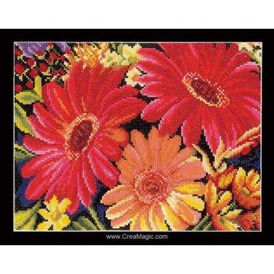 Fleurs en rouge modèle broderie au point de croix - Lanarte