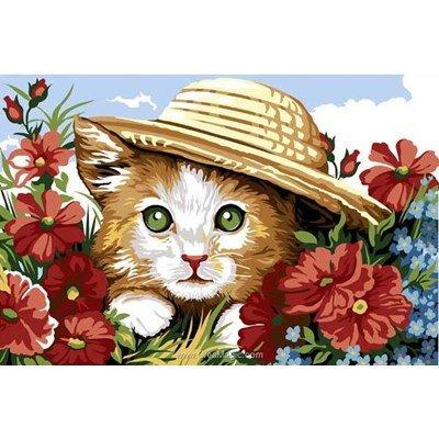 SEG canevas chaton sous le chapeau