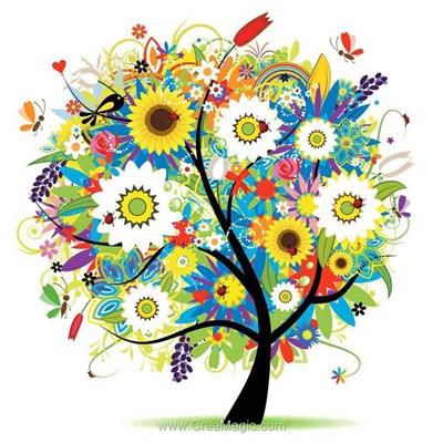 Kit broderie diamant Diamond Painting l'arbre aux fleurs