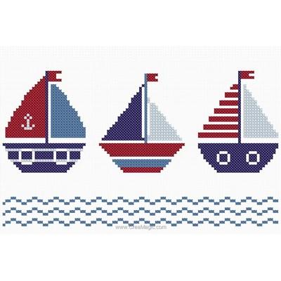 Kit à broder point de croix Princesse les trois petits navires