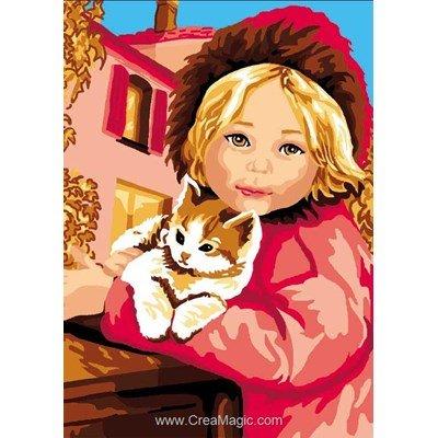 Canevas filette et son chaton - Luc Création