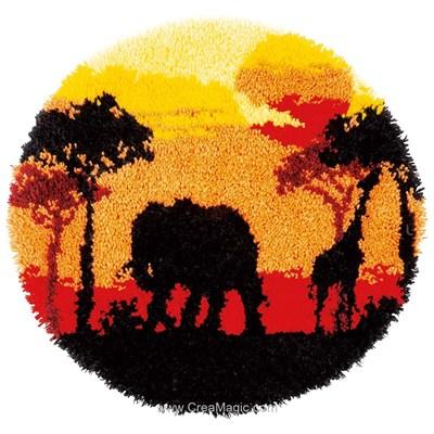Kit tapis point noue Vervaco coucher de soleil en afrique