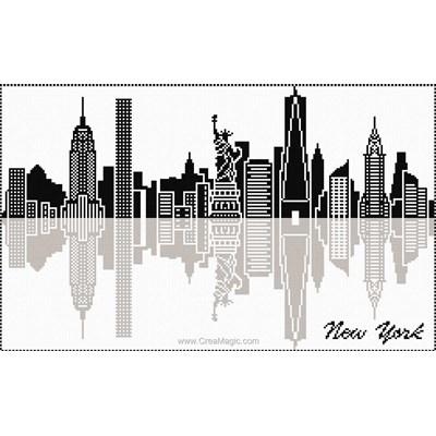 Broderie en point compté new york nyc de Marie Coeur
