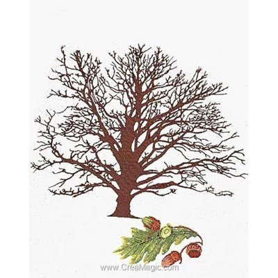 Broderie au point de croix point compté Thea Gouverneur oak tree sur lin