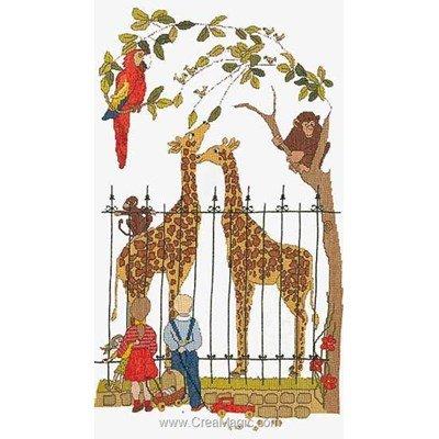 The zoo sur lin modèle broderie au point de croix - Thea Gouverneur