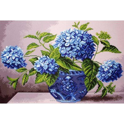 Kit broderie imprimée aida Collection d'art hortensias en vase