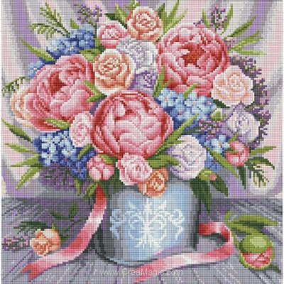 Kit broderie diamant Diamond Painting pink flowers
