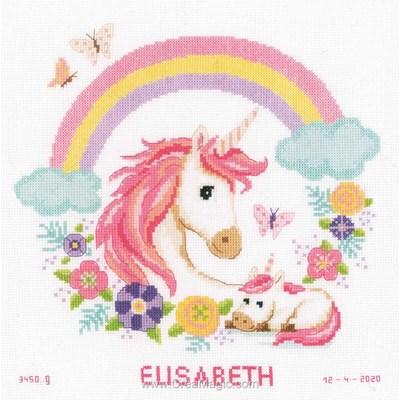 Les licornes et l'arc en ciel broderie tableau de naissance - Vervaco