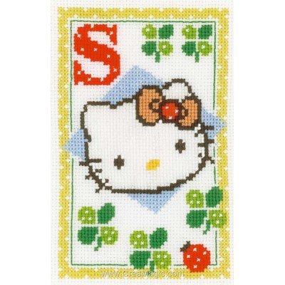 Hello kitty lettre s kit Vervaco à broder au point de croix