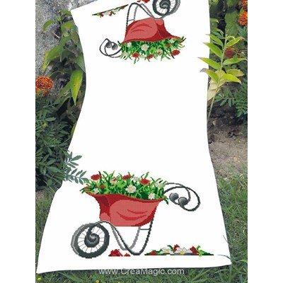 Kit chemin de table à broder au point de croix compté brouette en fleurs - Luc Création