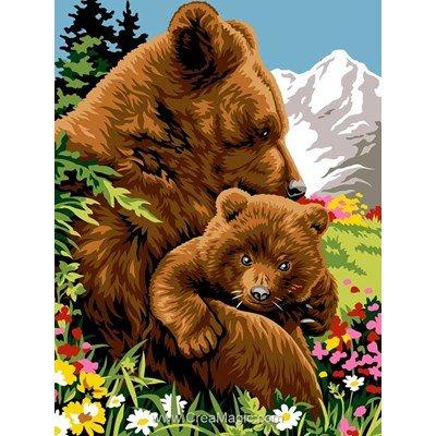 Canevas l'ourse et l'ourson dans la vallée - Margot