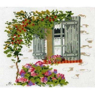 Point de croix à broder fenêtre d'été - toile lin d'Anagram