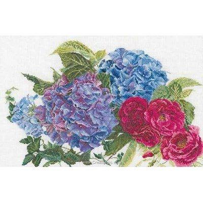 Kit tableau point de croix hydrangea & rose sur lin de Thea Gouverneur