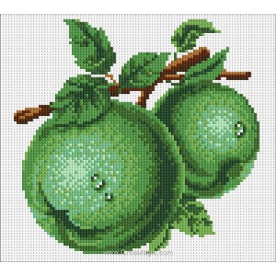 Broderie diamant Diamond Painting green apples