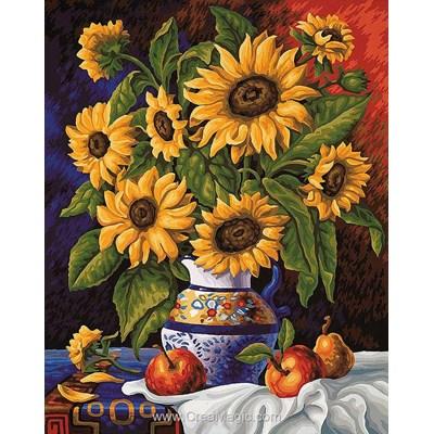 Broderie diamant bouquet de tournesols - Collection d'art