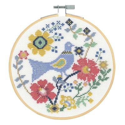Un oiseaux en fleur broderie au point de croix point compté - DMC
