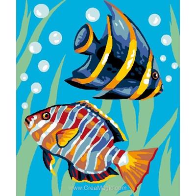 Canevas enfant en kit Luc Création duo de poissons tropicaux