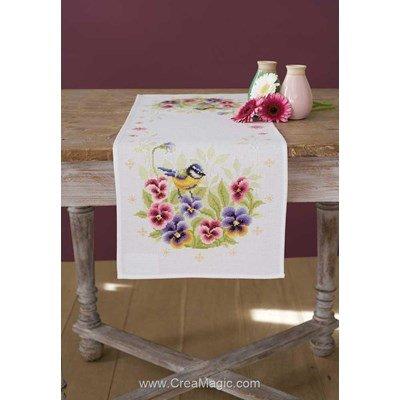 Chemin de table en kit à broder au point de croix compte oiseau et violette - Vervaco
