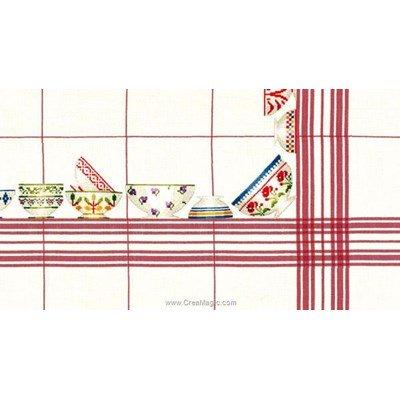 Kit nappe Le Bonheur Des Dames bols blanche à carreaux rouge 180x180 à broder au point de croix compté